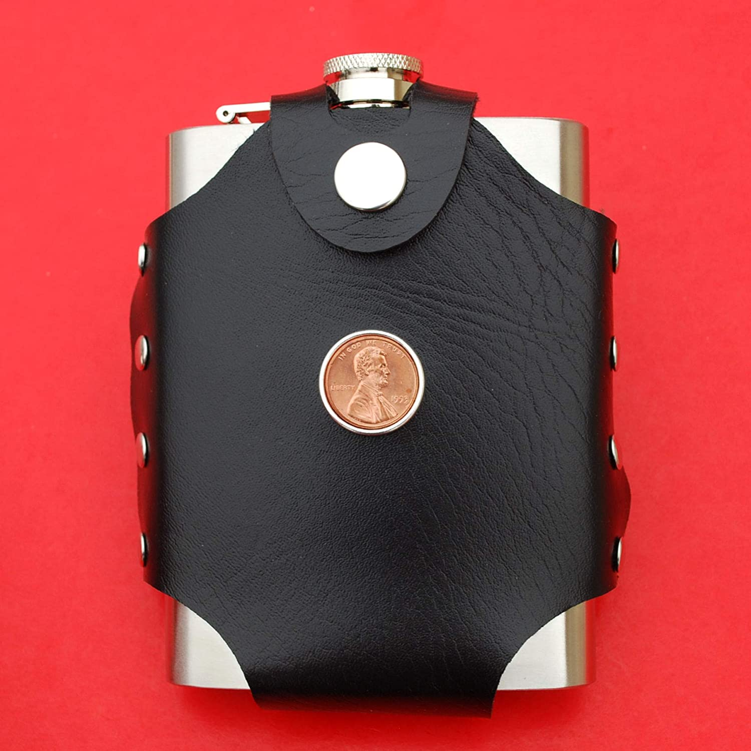 - Lucky Penny US 1993 Lincoln Penny BU Uncirculated 1 Cent Coin Leak Proof Black PU Leather Wrapped Stainless Steel 8 Oz Hip Flask Water Wine etc Liquor
