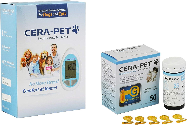 Medidor de glucosa en sangre para su uso en perros y gatos + Recambio de 50 Tiras - Productos e instrucciones en inglés - Nueva versión de 2018