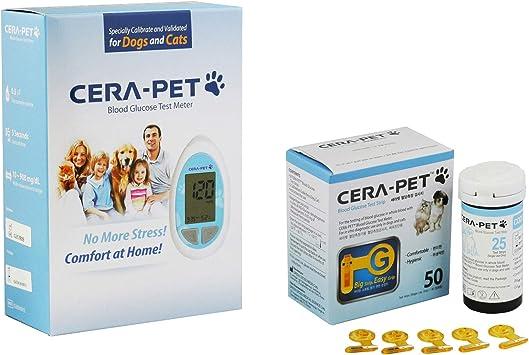 Medidor de glucosa en sangre para su uso en perros y gatos + Recambio de 50 Tiras - Productos e instrucciones en inglés - Nueva versión de 2018: Amazon.es: Salud y cuidado personal