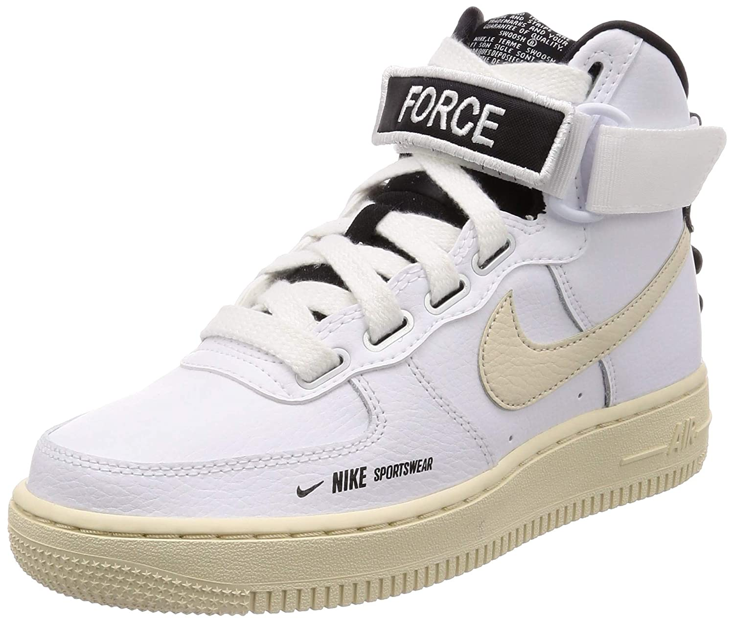 size 40 22367 c49f4 Nike Women's WMNS Air Force 1 High Utility, White/Light Cream-Black-White