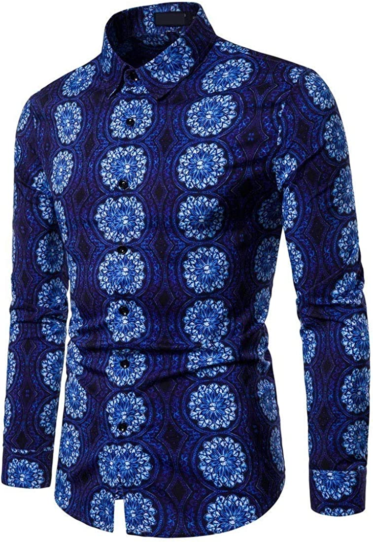 AngelSpace Mens Casual Floral Printed Spring//Autumn Stretchy Literature Long-Sleeve Shirts