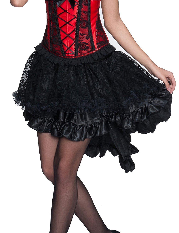 Divas Love Women's Solid Color Lace Asymmetrical High Low Corset Skirt