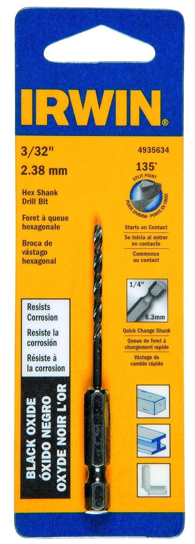 Irwin Tools 4935634 Black Oxide Hex Shank Drill Bit 3//32-Inch