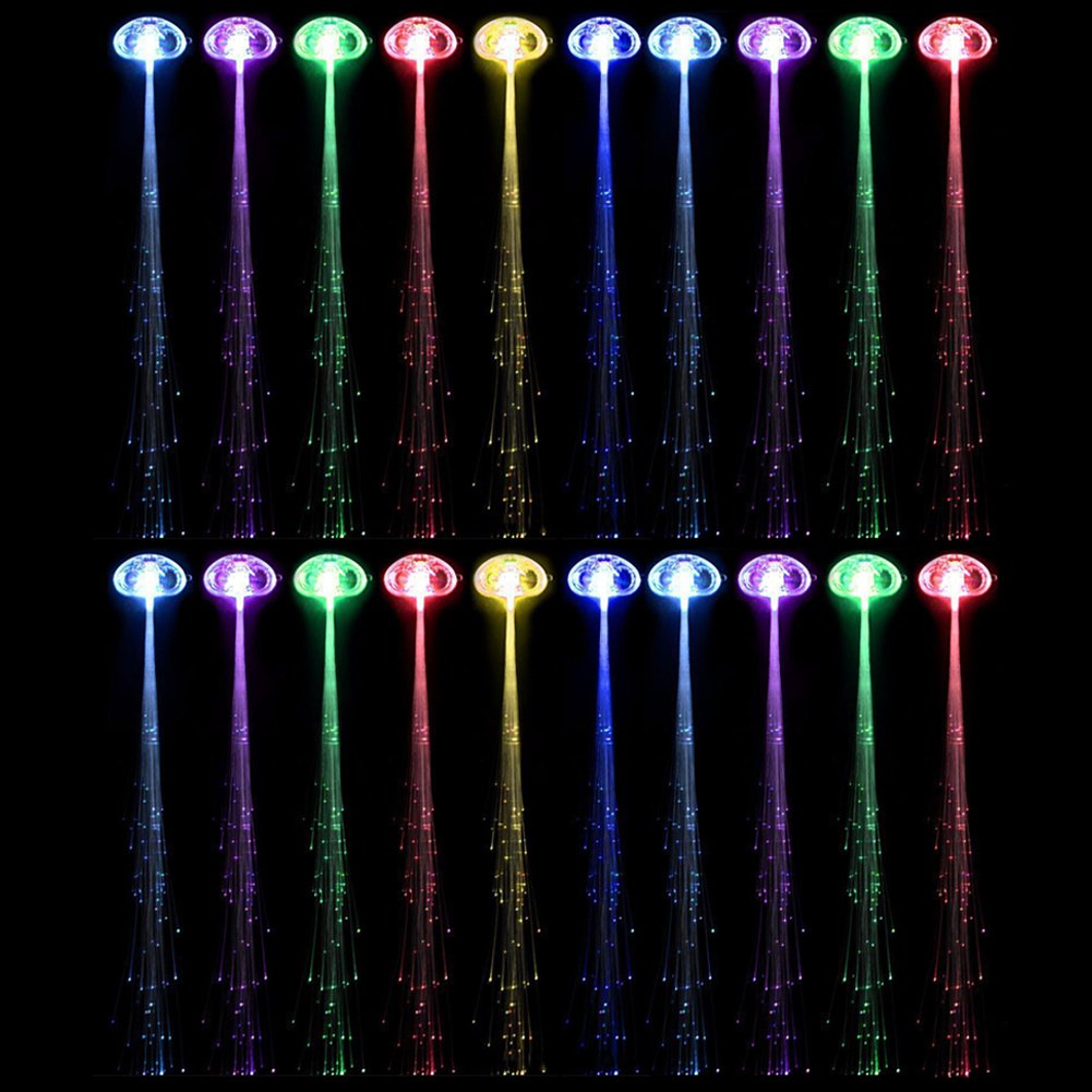 RioRand LED Fiber Optic Lights Up Hair Alternating Multicolor Flash Barrette 10 Piece Clip Braid for New Years Eve Party, 6.4 Ounce : Fiber Optic Clothes : Beauty