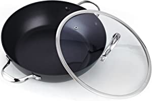 Cooks Standard 5-Quart Everyday Chef's 12-Inch Hard Anodized Nonstick All Purpose Pan, Black