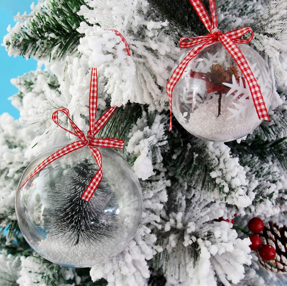 Home Decor Kingrol 20 Pack 4-Inch Clear Plastic Fillable Ornaments Ball Party for Christmas Wedding