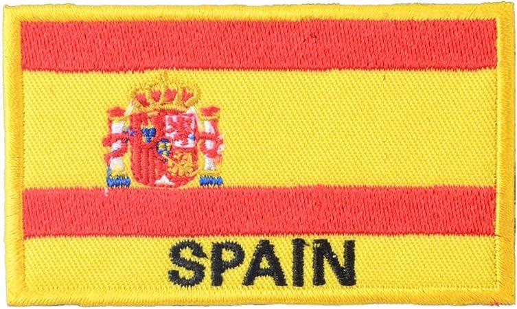 Parche bordado con velcro gancho con la pintura de la bandera de España: Amazon.es: Hogar