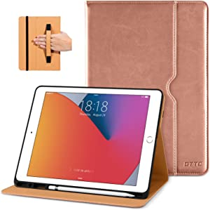 DTTO New iPad 7th/8th Generation Case 10.2 Inch 2019/2020, Premium Leather Business Folio Stand Cover with Built-in Apple Pencil Holder - Auto Wake/Sleep and Multiple Viewing Angles - Rose Gold