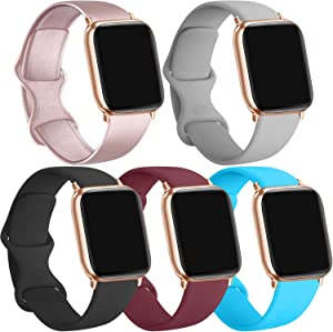 [5 Pack] Silicone Bands Compatible for Apple Watch Bands 42mm 44mm, Sport Band Compatible for iWatch Series 6 5 4 3 SE(Rose Gold/Black/Wine red/Teal/Gray, 42mm/44mm-S/M)