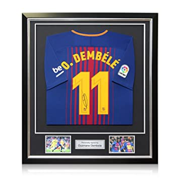 exclusivememorabilia.com Camiseta de Fútbol Barcelona 2017-18 firmada por Ousmane Dembele. En Marco de Lujo: Amazon.es: Deportes y aire libre