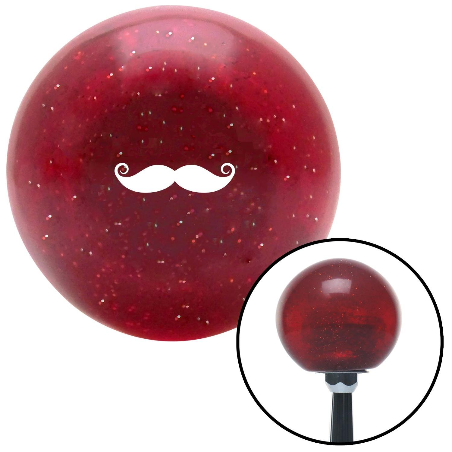 American Shifter 282692 Shift Knob White Mustache French Red Metal Flake with M16 x 1.5 Insert