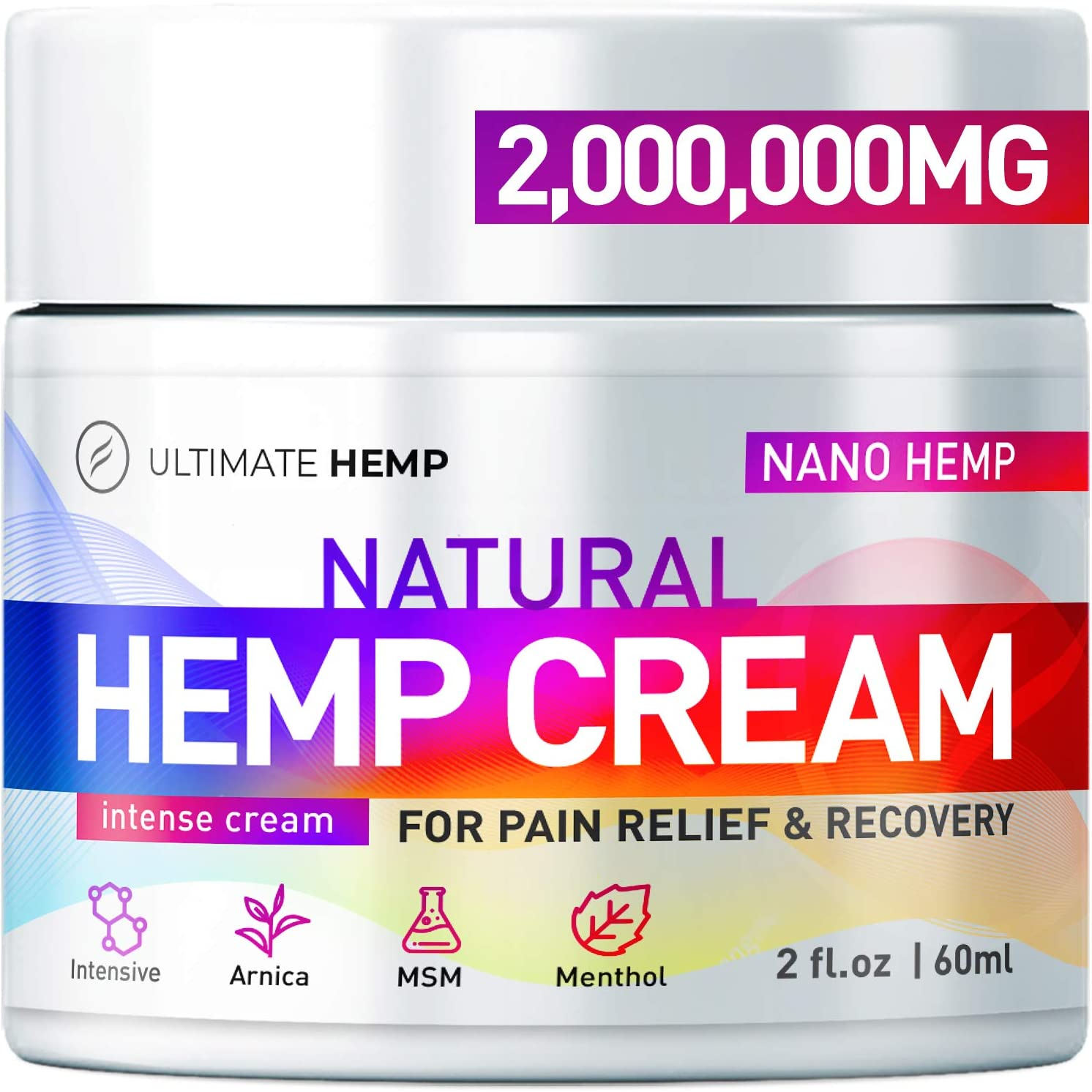 Hemp Ultimate Pain Relief Cream - Relieves Muscle, Joint Pain, Lower Back Pain, Knees, and Fingers - Inflammation - Hemp Extract Remedy - Hemp Oil with MSM - Arnica 2oz