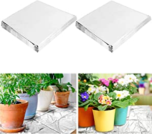 Alphatool 10 Pack 39 x 78 inches High Silver Reflective Mylar Film- Garden Greenhouse Covering Foil Sheets for Effectively Increasing Garden Greenhouse Covering Fruit Trees Plants Growth (1m x 2m)