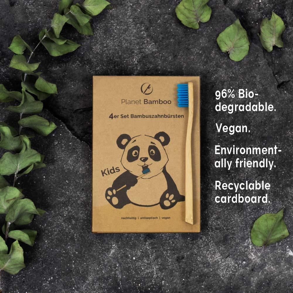 Planet Bamboo ♻ Paquete de 4 cepillos de dientes de bambú (Niños | rosa o azul | Medio), Cepillo de dientes natural (Azul): Amazon.es: Salud y cuidado ...
