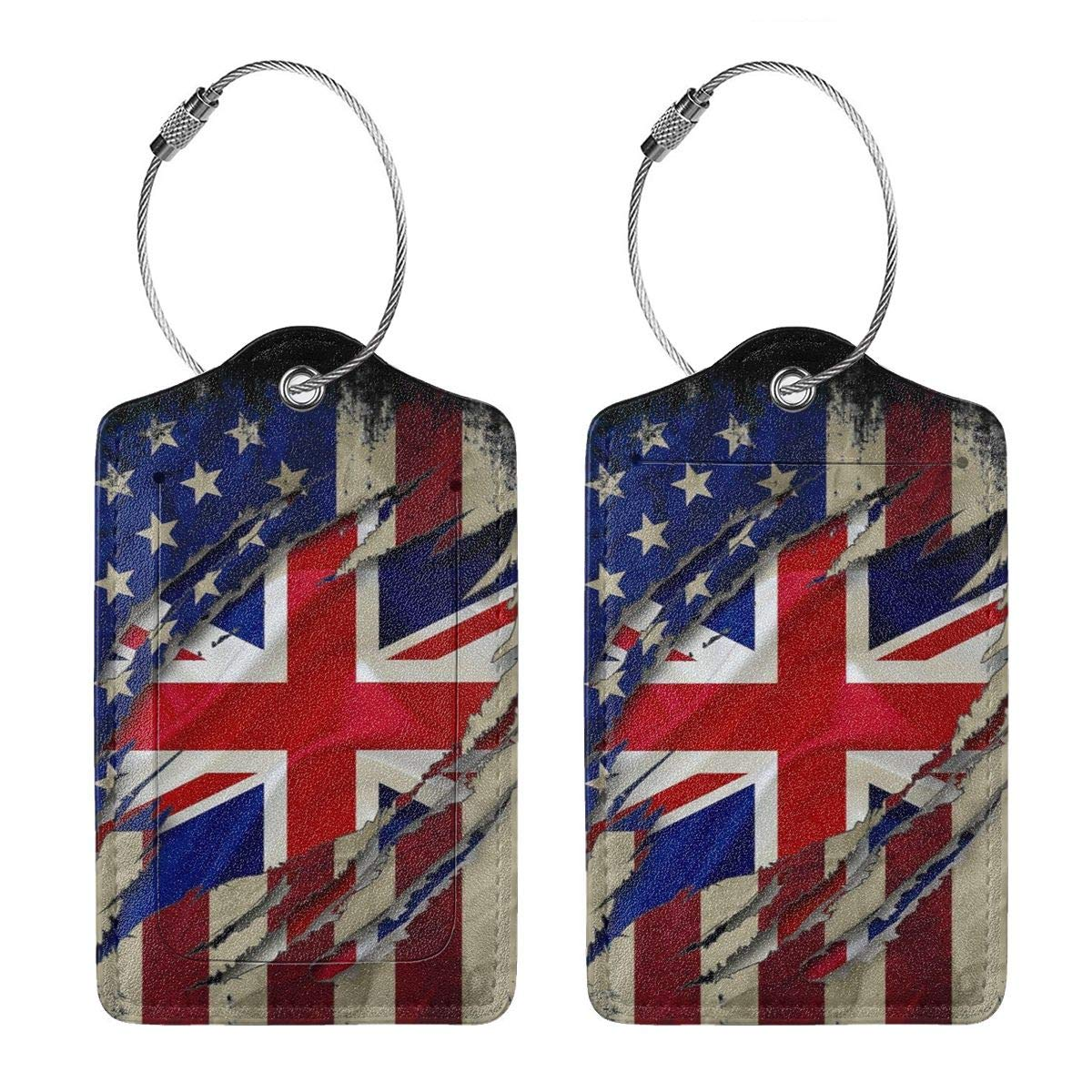 GoldK British English American Flag Leather Luggage Tags Baggage Bag Instrument Tag Travel Labels Accessories with Privacy Cover