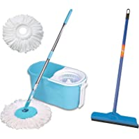 Gala e-Quick Spin Mop with Easy Wheels and Bucket with 2 Refills & Gala Double Lip Wiper (Multicolor)