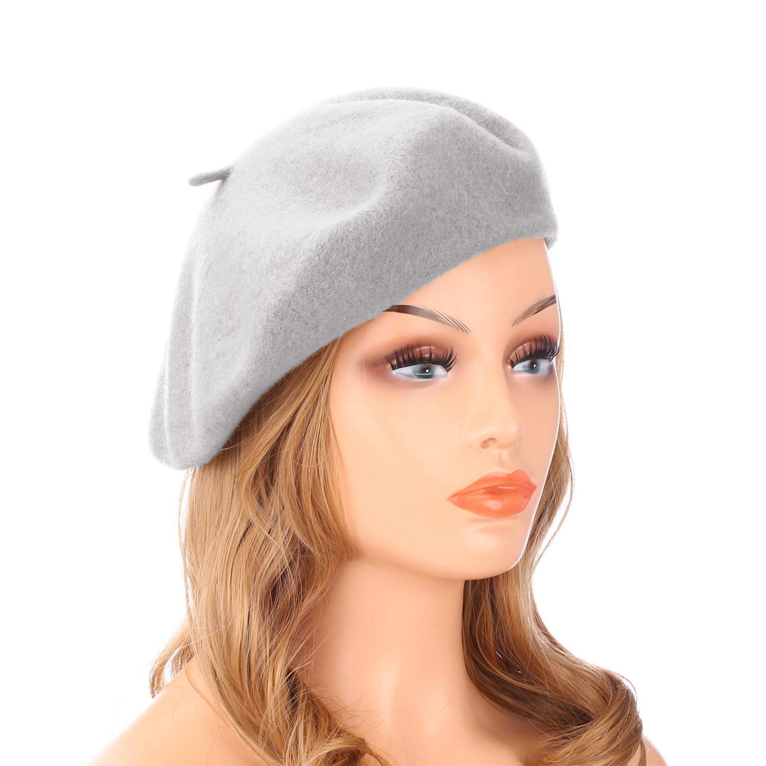 Wheebo Wool Beret Hat,Solid Color French Style Winter Warm Cap For Women Girls (Light Gray)