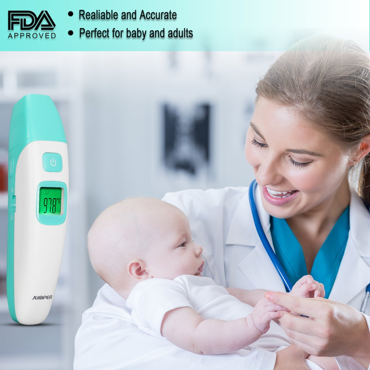 Amazon.com : Baby Thermometer Forehead and Ear, Infrared Digital Thermometer with Fever Alarm Indicator and Clinical Accuracy Instant Read Medical ...
