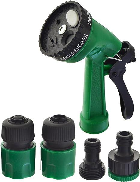 8 Functions Garden Hose Pipe Spray Gun Nozzle Head Adapter Connectors /& Fittings
