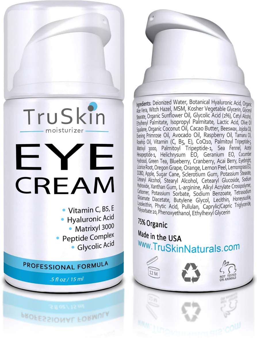 TruSkin Eye Cream, Anti-Aging Formulation Hydrates, Protects & Revitalizes Delicate Skin Around Eyes. 15ml by TruSkin Naturals
