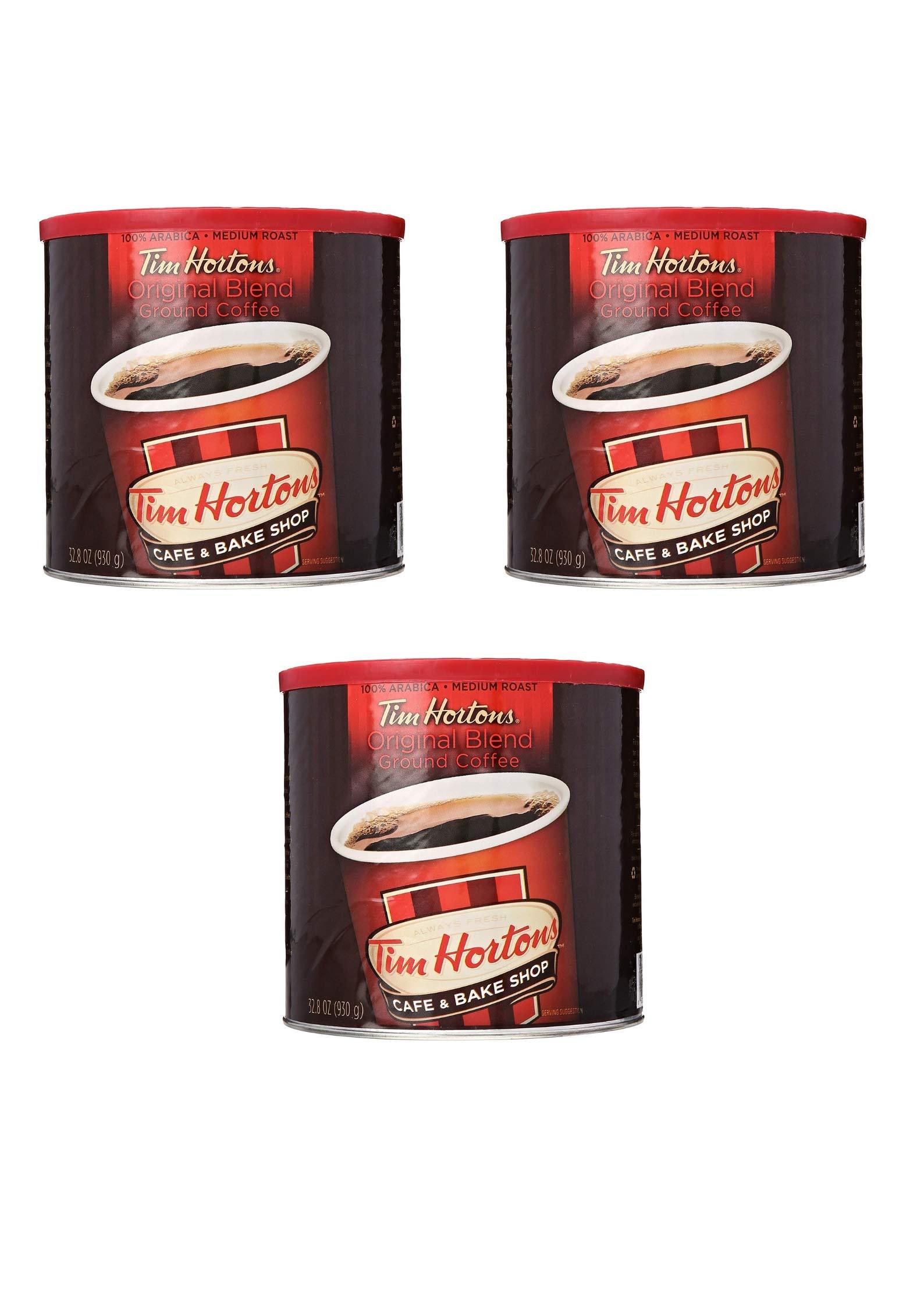 Tim Hortons Original Ground Coffee, Medium Roast, 32-Oz Cannister (Pack of 3)