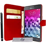 Etui Housse Luxe Rouge Portefeuille Samsung Galaxy Grand Prime SM-G530FZ \ Grand Prime VE Value Edition SM-G531F + STYLET et 3 FILM OFFERT!!