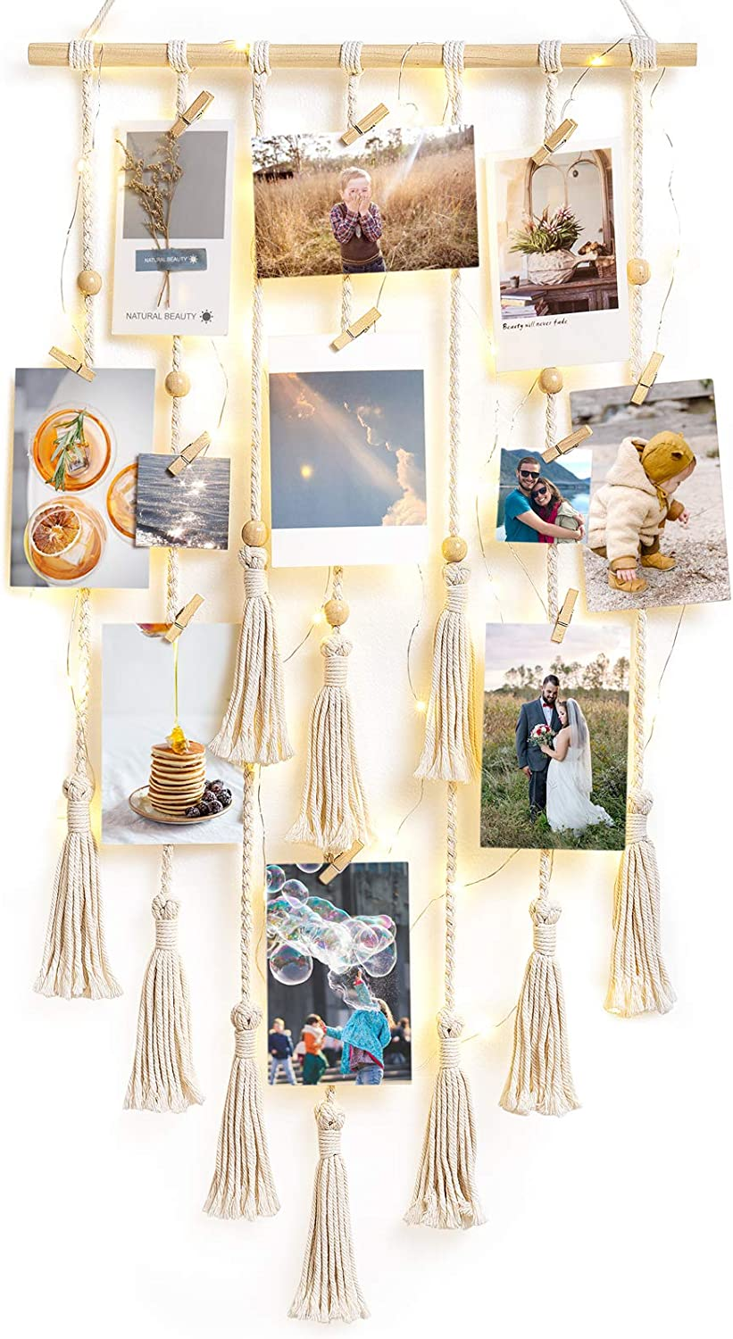 Mkono Hanging Photo Display with String Lights Macrame Boho Wall Hanging Decor Pictures Cards Holder for Bedroom Living Room, Dorm Gallery, with 30 Wood Clips
