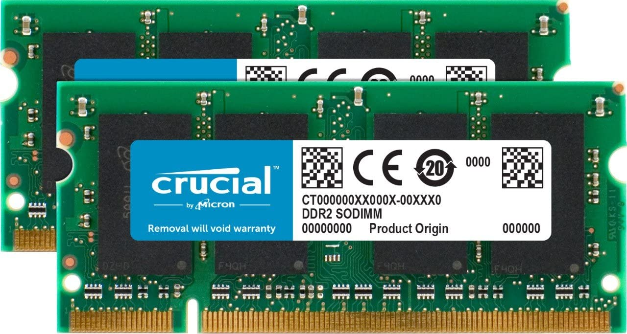 Crucial 2GB Kit (1GBx2) DDR2-800MHz (PC2-6400) 200-pin SODIMM Laptop Memory Upgrade CT2KIT12864AC800 / CT2CP12864AC800