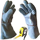 Welding & BBQ Gloves, Premium Grade A Cowhide Leather, Heavy Duty Hand Shield, Extreme Heat & Wear Resistant, Grill, Fireplace, Work, Garden, Oven & Barbecue Cooking Baking Smoking Gloves (Grey)