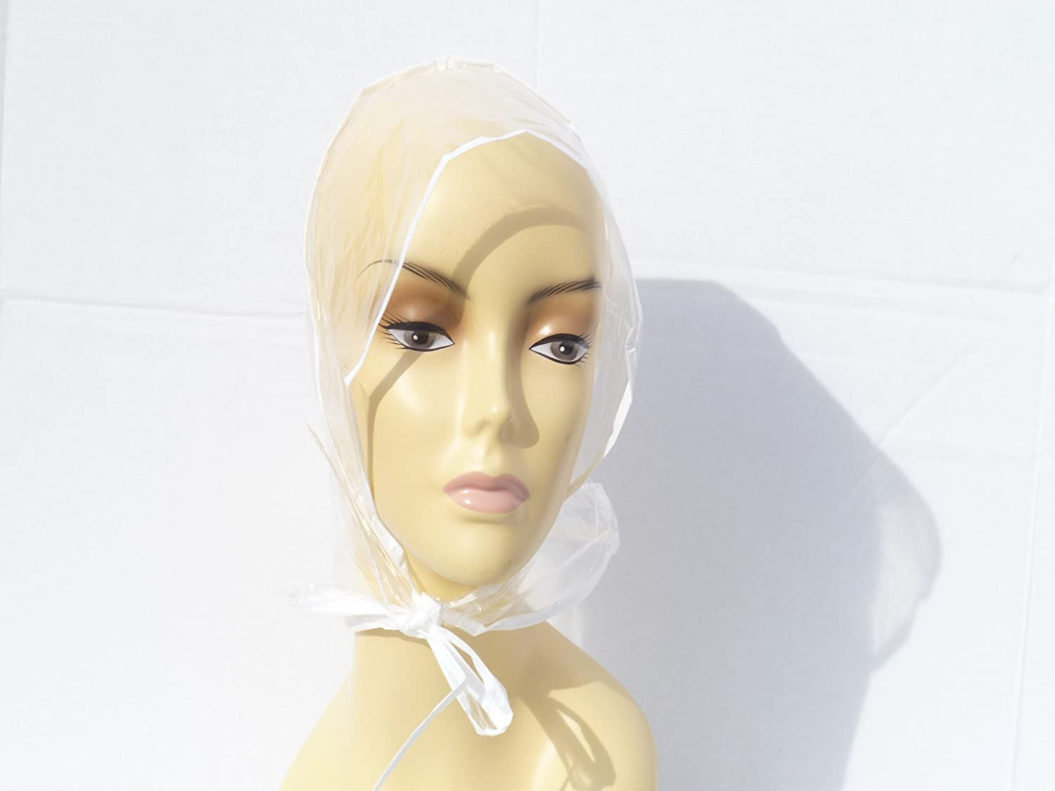 Women Hair Rain Bonnets Clear Plastic Cap Hat: Beauty