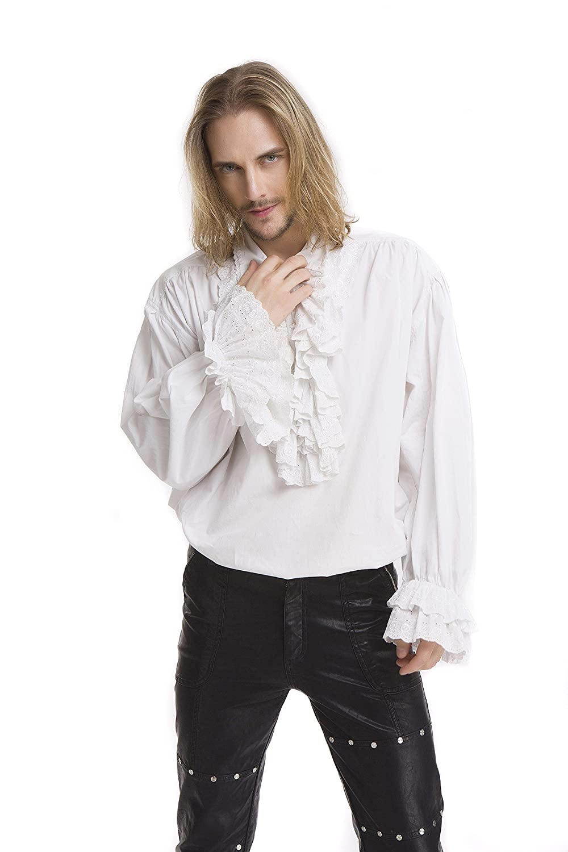 Blanc XL Pentagramme Chemise Gothique Rohommetique pour Homme à Jabot
