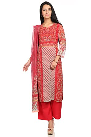 250332763 BIBA Women's Straight Salwar Suit: Amazon.in: Clothing & Accessories
