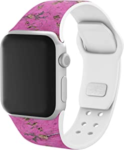AFFINITY BANDS Realtree Pink Camo Silicone Watch Band Compatible with Apple Watch - 38mm/40mm