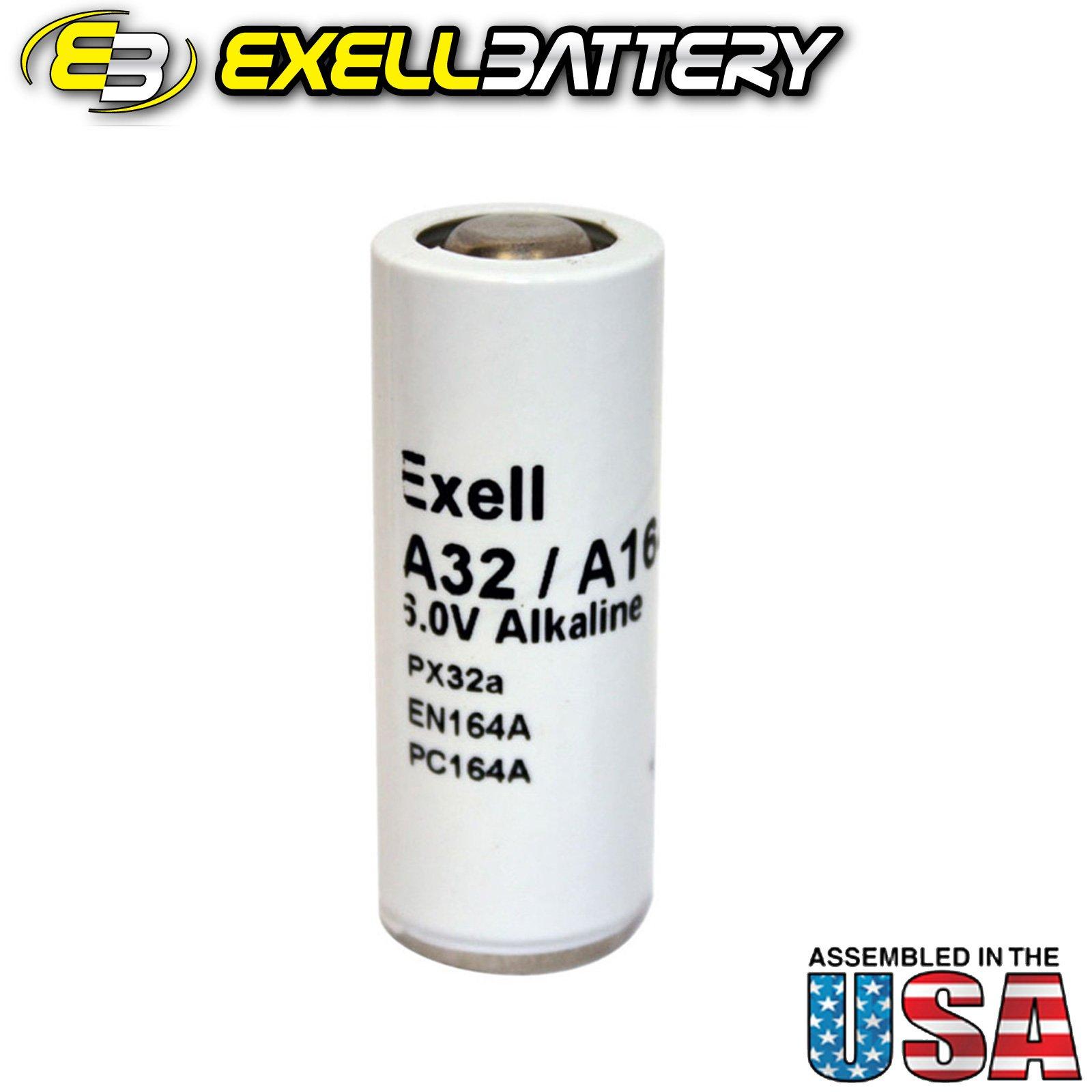 Exell A32PX 6V Alkaline Battery V32PXA, A32PX, PX32A, TR164A, EN164A, PX32, Mallory TR164, Eveready 164, E164, V164, National HM-4N, 4NR52, V164PX, 1404M by Exell Battery