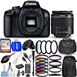 Canon EOS 4000D / Rebel T100 with EF-S 18-55mm III Lens - Top Value Bundle Includes Extra Battery and Travel Charger, Ultra 6