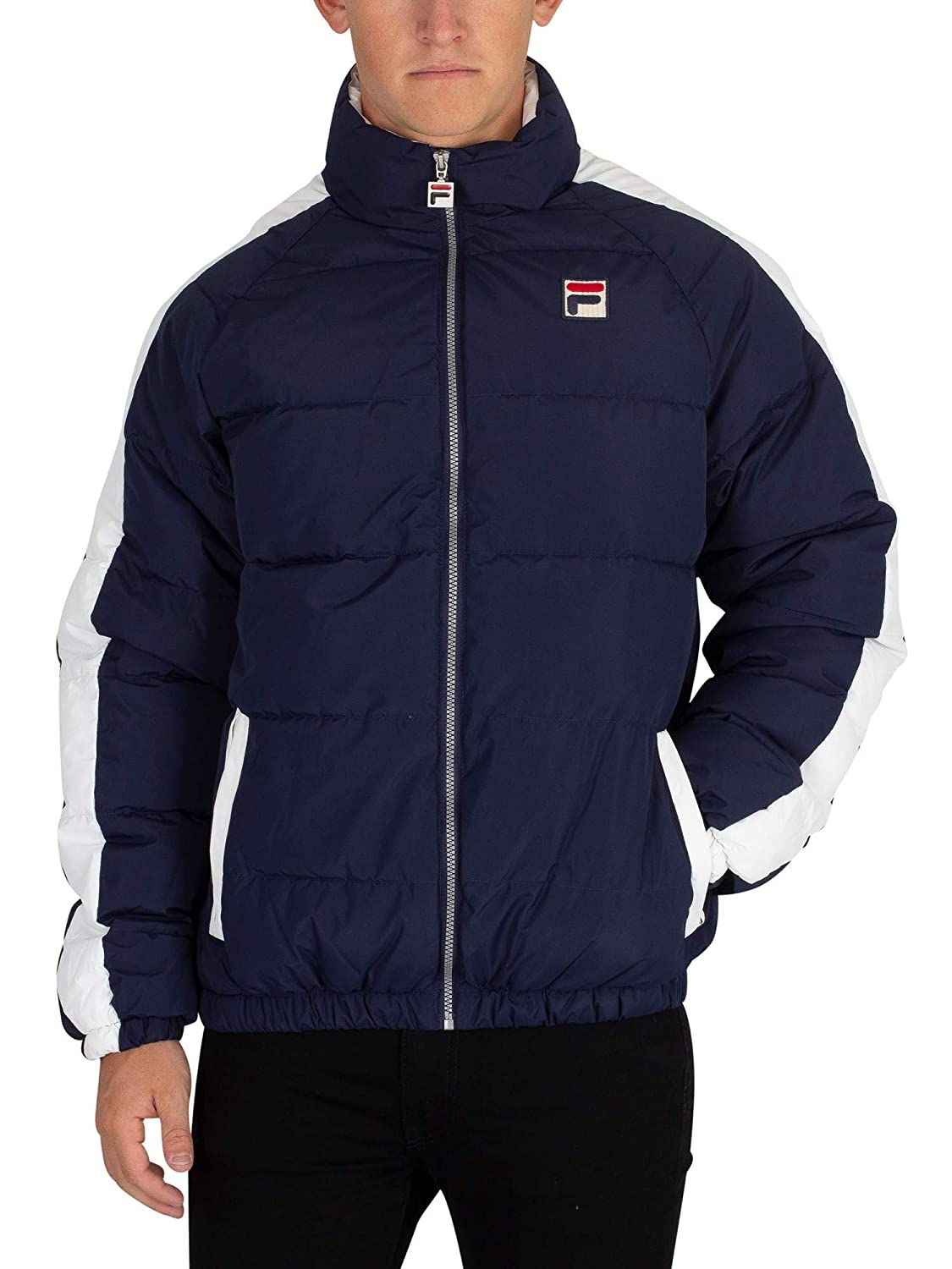 Fila Vintage Men's Ledger Puffer Jacket, Blue