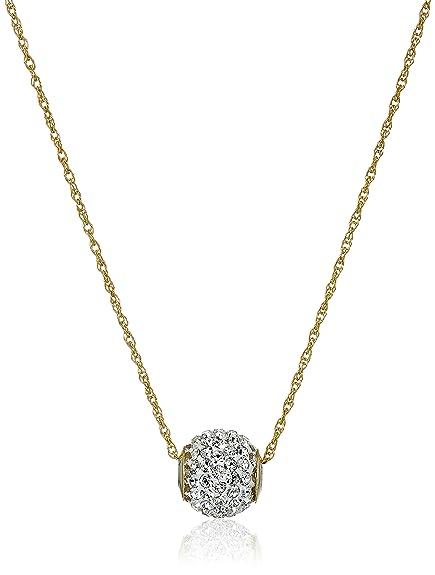 9c7965a65d 10k Gold Swarovski Elements Slide Ball Pendant Necklace: Amazon.ca: Jewelry