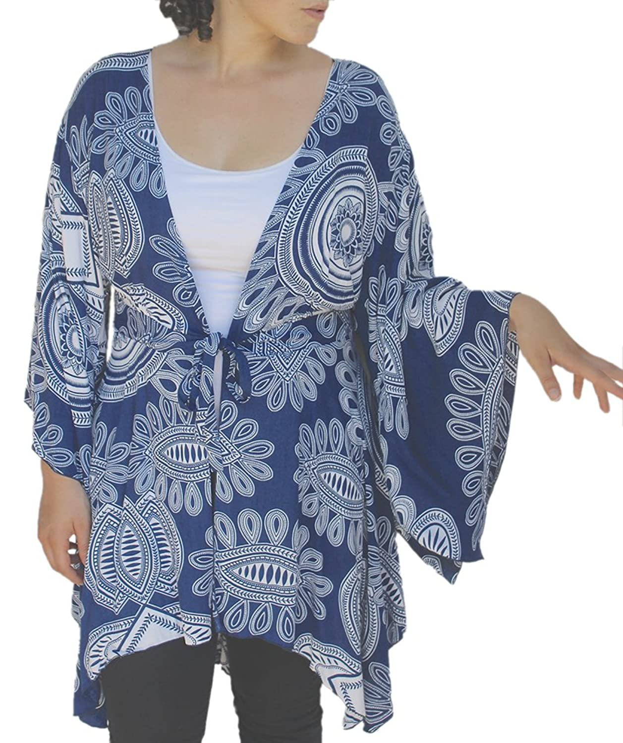 Plus Size Tunic Cardigan, Kimono Sleeve Style, Womens Plus Sizes, Bust up to 58""