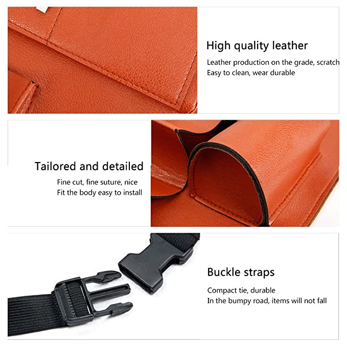 HOOPEN Car Back Seat Organizer with Tablet Holder and Folding Table Multi-Pocket Travel Storage for Bottles Black Napkins Phones and Journals Made of PU Leather