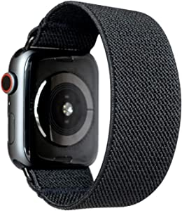 Tefeca Black Elastic Compatible/Replacement Band for Apple Watch 42mm/44mm (Black Adapters, M fits Wrist Size : 6.5-7.0 inch)