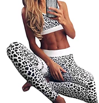 d4e7f385b153 DressUWomen DressU Women Leopard Print Running Fitness Tank Top Vest Tights  Leggings Set Pattern1 S