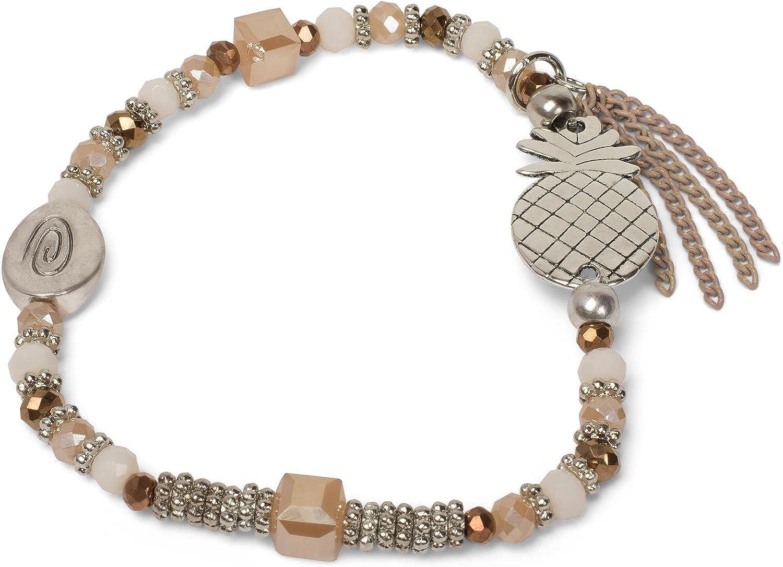 styleBREAKER Pulsera de Perlas con piñas, Cadena y Perlas, elástico, Pulsera elástica, bisutería, señora 05040141