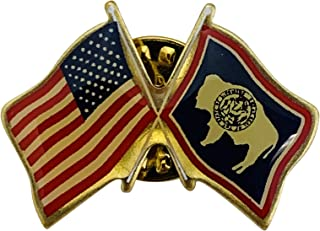 product image for Gettysburg Flag Works Set of 3 Wyoming & U.S. Crossed Flags Double Waving Friendship Lapel Pin - Made in The USA
