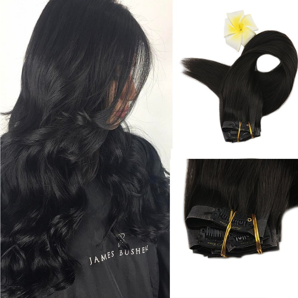 Full Shine 8 Pieces 20'' 120g Color #1B Off Black Seamless Clip in Hair Extensions Full Head Clip in Tape Remy Human Hair Extensions Best Skin Weft Clip in Hair Extensions