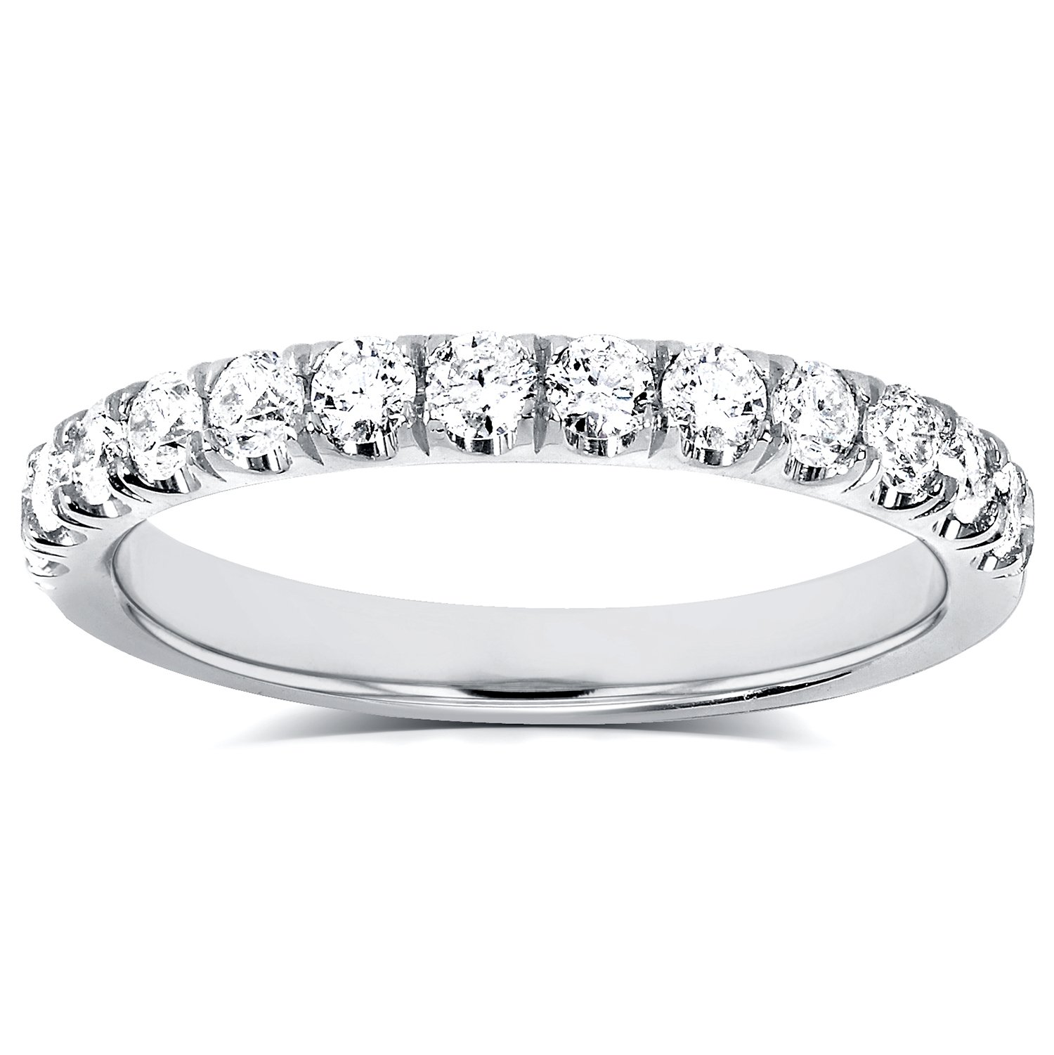 Diamond Comfort Fit Flame French Pave Band 1/2 carat (ctw) in 14K White Gold by Kobelli (Image #1)