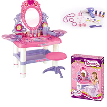 Kids Girls Mirror Dressing Table Pink Dresser Play Set Glamour Beauty Make  Up Desk Toy Bedroom