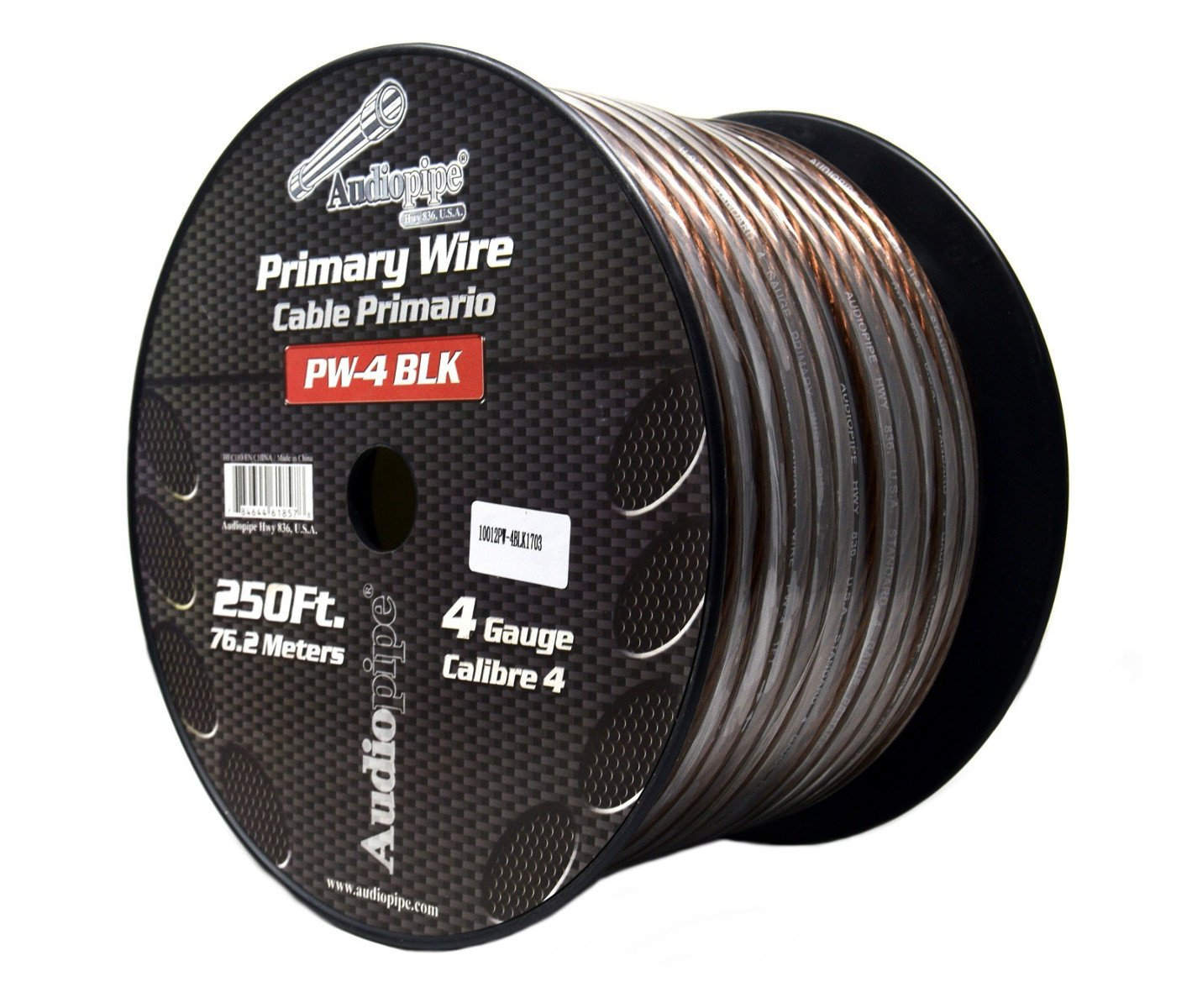 4 GA Black Power Wire Primary Ground 250FT Copper Mix Cable CAR Audio Amplifier by Audiopipe
