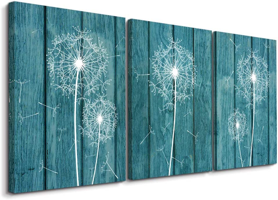 Framed Canvas wall art for living room farmhouse wall decor for Bedroom modern bathroom restaurant kitchen Wall Decoration painting Green dandelion pictures 3 piece Artwork for home walls Decor