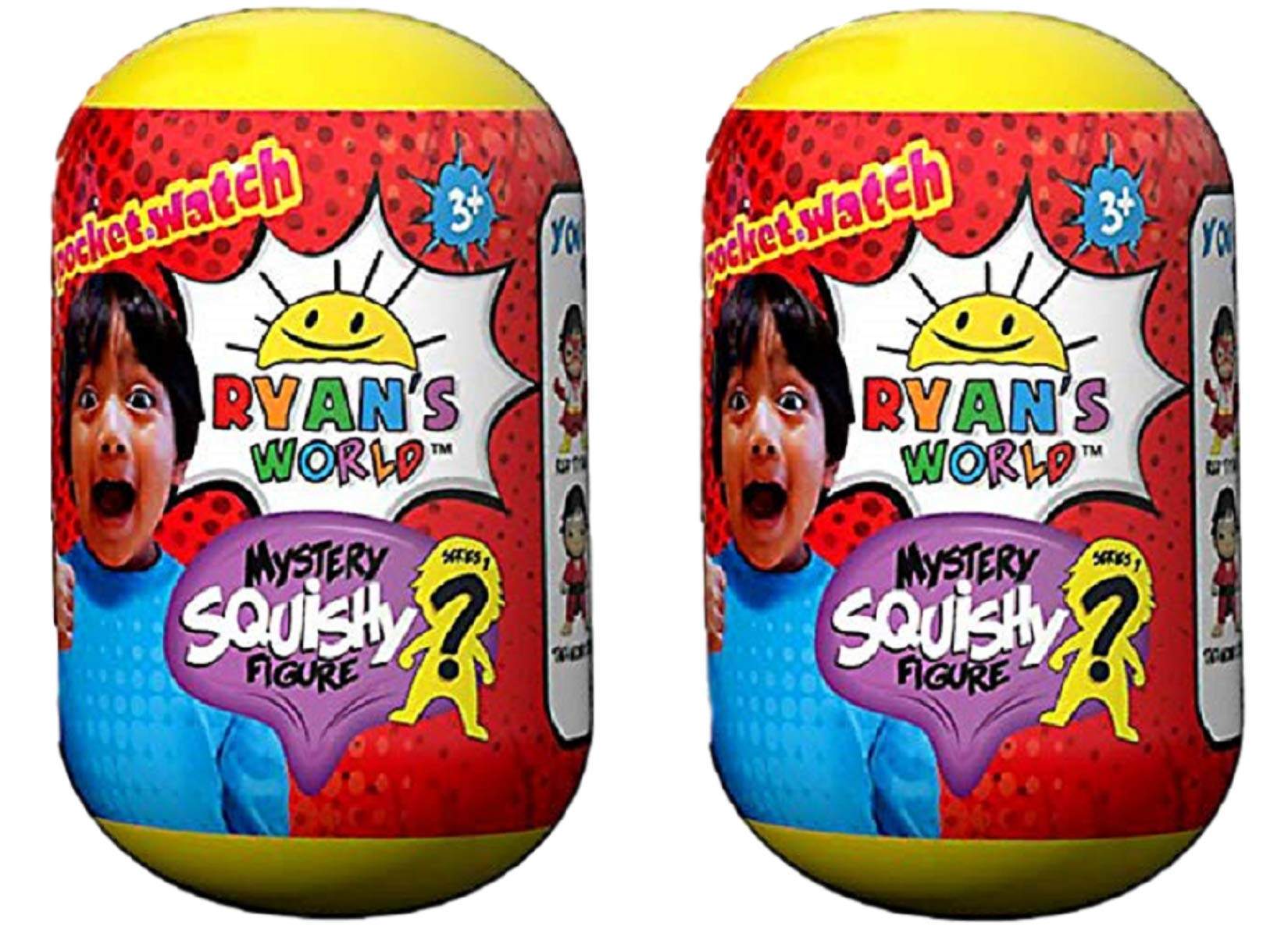 Ryan's World Pocket Watch Mystery Squishy Figure - Multipack of 2 by Ryan's World (Image #1)