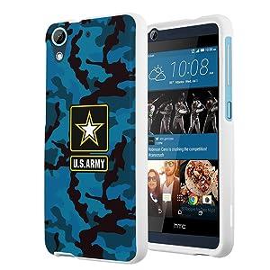 HTC Desire 626s Case, HTC Desire 626 Case, Capsule-Case Slim Fit Snap-on White Hard Case for HTC Desire 626s / HTC Desire 626 - (Army Camo Blue)
